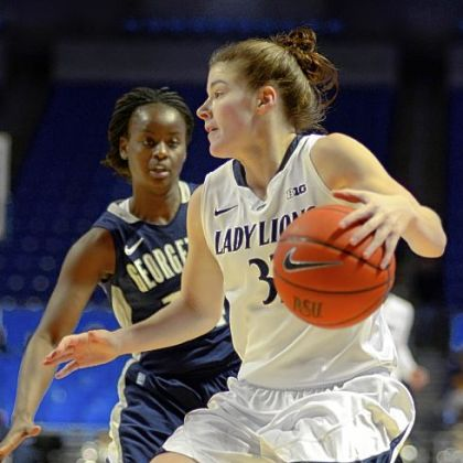 Penn State's Maggie Lucas looks around a Georgetown defender during in the first half of the Nittany Lions' easy win.