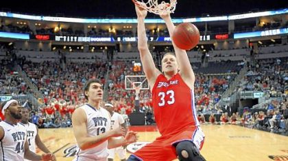 Duquesne and center Martins Abele look to stun West Virginia tonight at Consol Energy Center.