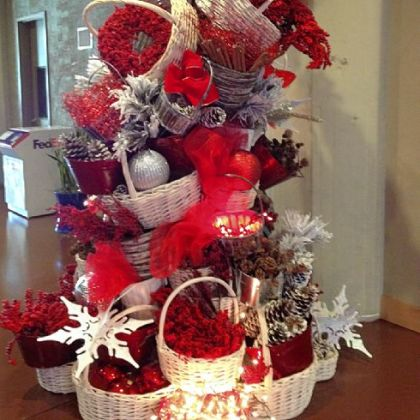 Bill Chisnell Productions does a funky basket tree with Christmas cheer.