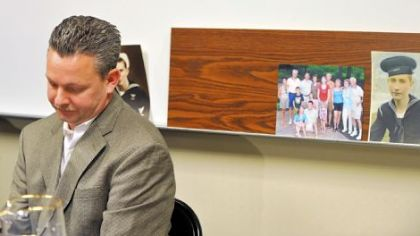 David Nicklas discusses the death of his father, William E. Nicklas, 87, on Monday at a news conference Downtown.