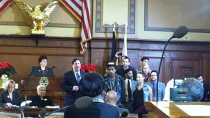 Wiz Khalifa accepts a proclamation from Councilman Bill Peduto during a ceremony at the City-County Building this morning.