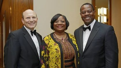 Alan Trivilino, Urban League CEO Esther Bush and Andrew Stockey.