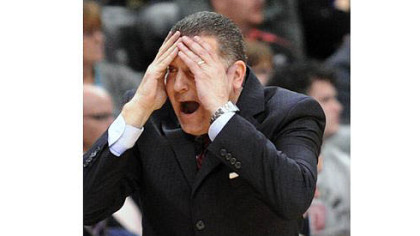 Duquesne coach Jim Ferry reacts to call in the Dukes' comeback victory against the Mountaineers.
