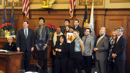 Group photo with Wiz Khalifa and members of  Council  after  the  proclamation  ceremony in Pittsburgh City Council&#039;s chambers.