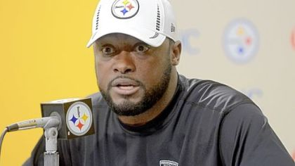 Coach Mike Tomlin speaks to the media in his weekly news conference Tuesday at the Steelers&#039; South Side training facility.