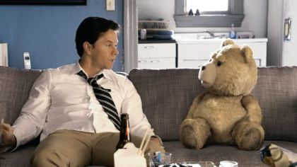Mark Wahlberg and his bear Ted (voice of Seth MacFarlane).