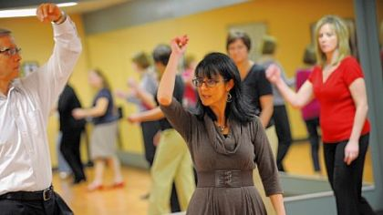 Joe and Luanne O'Brien demonstrate a dance technique during a class at Integral Ballroom Dance in Murrysville. Mrs. O'Brien teaches dance at the school, which she founded.