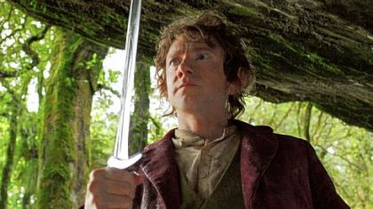 "Martin Freeman as the Hobbit Bilbo Baggins in the fantasy adventure ""The Hobbit: An Unexpected Journey."""