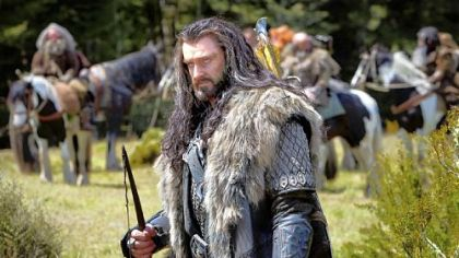 "Richard Armitage as the Dwarf warrior Thorin Oakenshield and left, at the premiere of ""The Hobbit."""