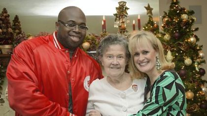 From left, George Barron, director at the Salvation Army, with Ruth and Peggy Rutkauskas last Thursday in Imperial.
