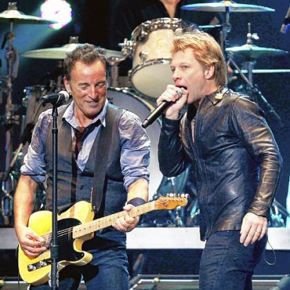 Bruce Springsteen, left, and Jon Bon Jovi at the The Concert for Sandy Relief in New York Wednesday night.