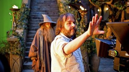 Ian McKellen and director Peter Jackson on the set of &quot;The Hobbit: An Unexpected Journey.&quot;