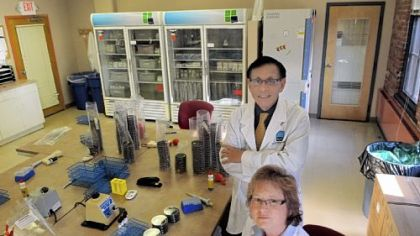 Victor Yu and Janet Stout, Legionnaires' disease experts, at Special Pathogens Laboratory in Uptown.