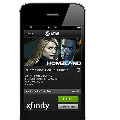 The Comcast Xfinity Player app lets subscribers download, rather than just stream, content to their mobile devices.