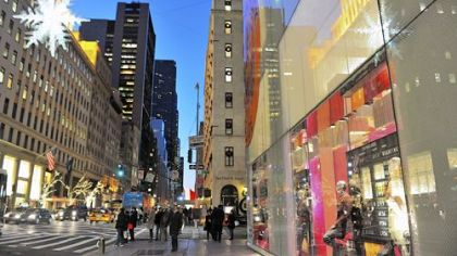 New York's Fifth Avenue includes such landmark shopping destinations as Tiffany & Co., FAO Schwarz, the Apple Store, Bergdorf Goodman, Louis Vuitton, Prada, Trump Tower, Harry Winston and Abercrombie & Fitch.