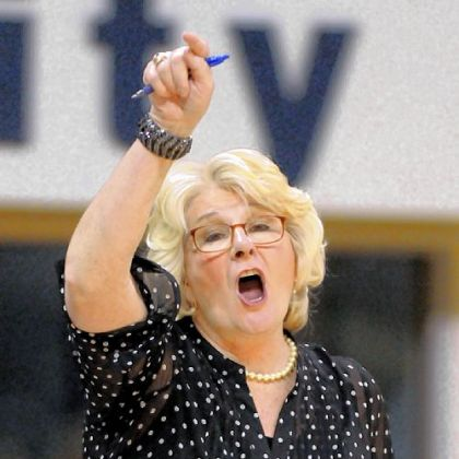 Pitt women's coach Agnes Berenato calls out offensive plays in the second half of a game against Rider Sunday at Peterson Events Center. Rider won, 65-48.