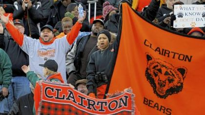 Clairton fans at Hersheypark Stadium cheer on the Bears as they play Dunmore in the PIAA Class A championship game Friday. Clairton won, 20-0, to claim their fourth consecutive state title and stretch their state-record winning streak to 63 games.