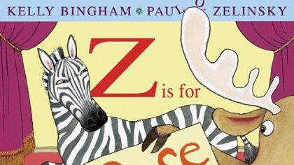 "Moose is so excited about being in the class ""alphabet"" show that he can't wait his turn in the book, ""Z Is for Moose."""