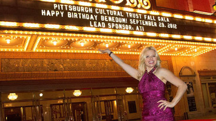 "Actress Megan Hilty, star of NBC's ""Smash"" and CMU graduate, at the Pittsburgh Cultural Trust's ""Happy Birthday Benedum."""