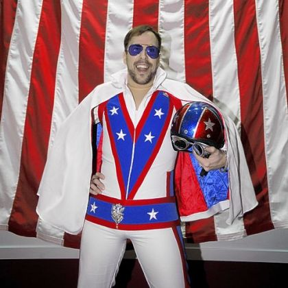 "Joe King dressed as Evel Knievel at the Senator John Heinz History Center's ""History Uncorked."""