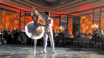 "PBT dancers Christine Schwaner and Alexandre Silva at Pittsburgh Ballet Theatre's ""Pointe in Time."""