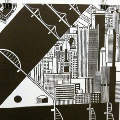 "Jim Rugg's woodcut print shows his interpretation of Downtown as ""a city forged by natural and man-made wonders."""