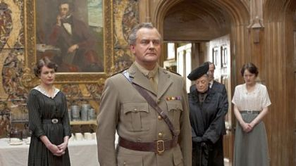 "Hugh Bonneville portrays Lord Grantham in ""Downton Abbey."" Also in the cast are, from left in background: Elizabeth McGovern as Lady Cora, Maggie Smith as the Dowager Countess and Michelle Dockery as Lady Mary."