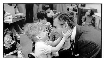 The 1978 photo of Fred Rogers and the unnamed little boy at Pittsburgh's Children's Institute.