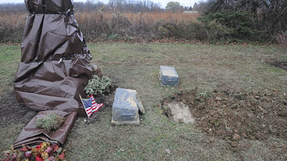 The gravesite of former Pennsylvania Gov. Raymond Shafer, who led the state from 1967 to 1971. Vandalism of the site is puzzling state police in Meadville and family members of Mr. Shafer.