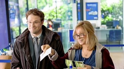 "Seth Rogen, left, and Barbra Streisand in ""The Guilt Trip,"" opening in theaters today."
