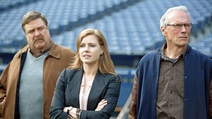 "John Goodman, left, Amy Adams and Clint Eastwood in ""Trouble With the Curve."""