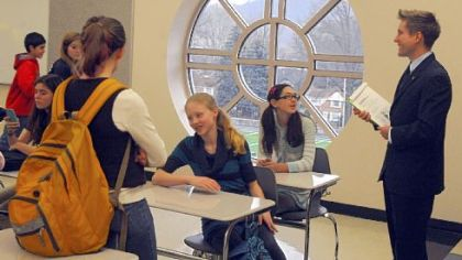 Eighth-graders make their first visit to Tom Forrest's English/language arts classroom in the renovated Quaker Valley Middle School.