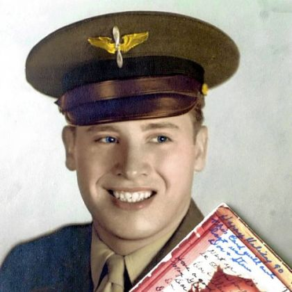 A photo of Stewart Owens in 1943 with the Christmas card he has exchanged with his Army friend since then. He is a former Liberty mayor and councilman.