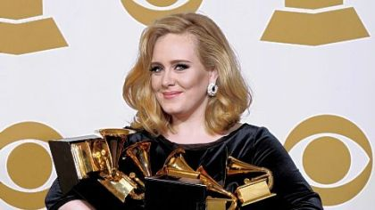 Adele, who won six Grammys earlier this year, has been named Associated Press Entertainer of the Year.