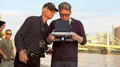 Director of photography Caleb Deschanel and Christopher McQuarrie on set in Pittsburgh.