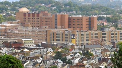 West Penn Hospital looms over the Bloomfield community.