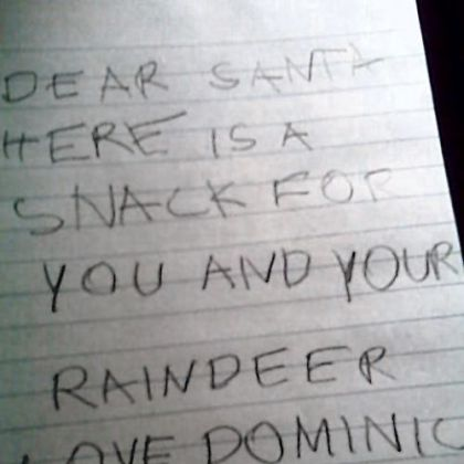 "Remember that Christmas Eve letter he left you with snacks for both you and the ""raindeer""? Too cute."