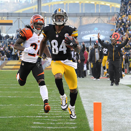 Antonio Brown hauled in a 60-yard touchdown pass from Ben Roethlisberger with just over a minute left in the first half.