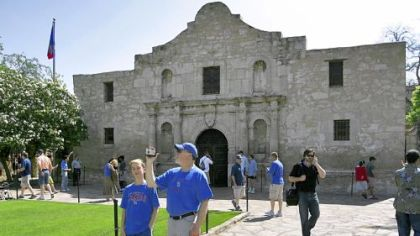 The Alamo, the site of the Battle of the Alamo in 1836, is now a museum in downtown San Antonio.