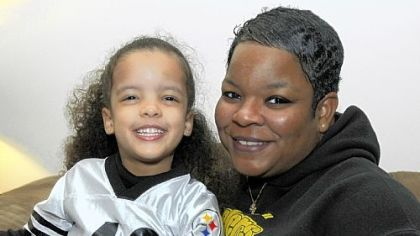 Anice Whatley, here with her daughter Olivia, 3, was born on Dec. 23, 1972, the day of the Steelers' playoff win against the Oakland Raiders and Franco Harris' Immaculate Reception.