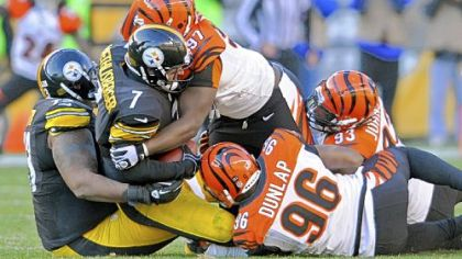 Steelers quarterback Ben Roethlisberger is sacked by Bengals' Geno Atkins in the third quarter Sunday at Heinz Field.