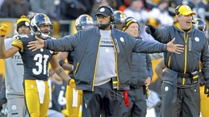 Steelers coach Mike Tomlin looks to the referees for a call as his team takes on the Bengals at Heinz Field Sunday.