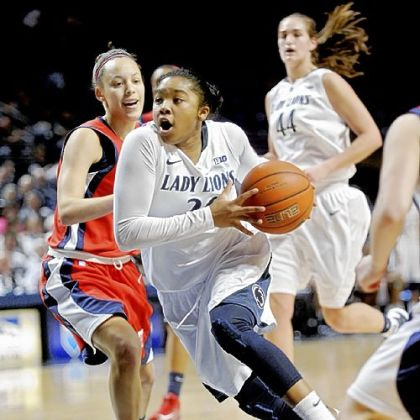 Penn State guard Alex Bentley dribbles past NJIT's Kim Tullis.