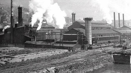 Smoke and steam spew from busy Jones and Laughlin Mills in Aliquippa, in December 1940.