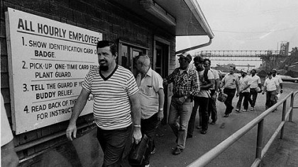 Steelworkers leave the second shift at the Jones and Laughlin Aliquippa works in  Aliquippa in this August 1980 file photo.