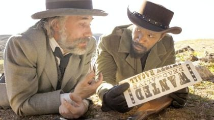 "Christoph Waltz, left, portrays a dentist/bounty hunter who helps a freed slave played by Jamie Foxx in Quentin Tarantino's ""Django Unchained."""