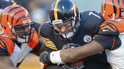 Steelers quarterback Ben Roethlisberger is sacked Sunday against the Bengals at Heinz Field.