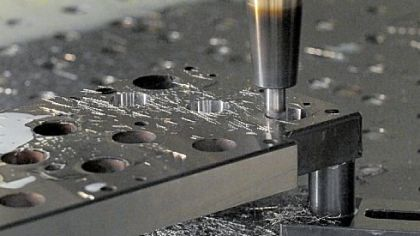 A closer look at a component being made for stamping dies at Oberg Industries.