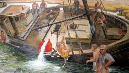 "Henry Koerner's ""Resurrecting a Ship"" from ""Modern Dialect: American Paintings From the John and Susan Horseman Collection"" at Westmoreland Museum of American Art."
