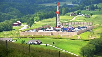 "From ""The Marcellus Shale Documentary Project"" at Pittsburgh Filmmakers, a gas-drilling rig in the Hopewell area of Washington County by Scott Goldsmith."
